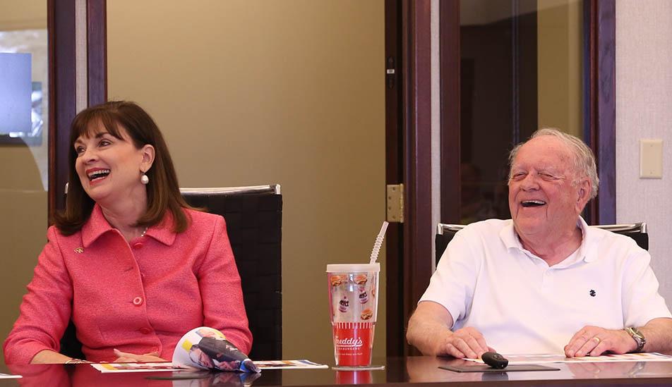 WSU Foundation President and CEO Elizabeth King with Dr. Rhatigan