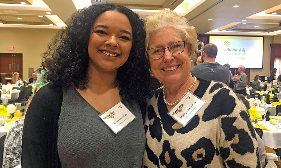 Marilyn Benyshek pictured with WSU Scholarship student Amira Coleman at the 2020 Scholarship Celebration