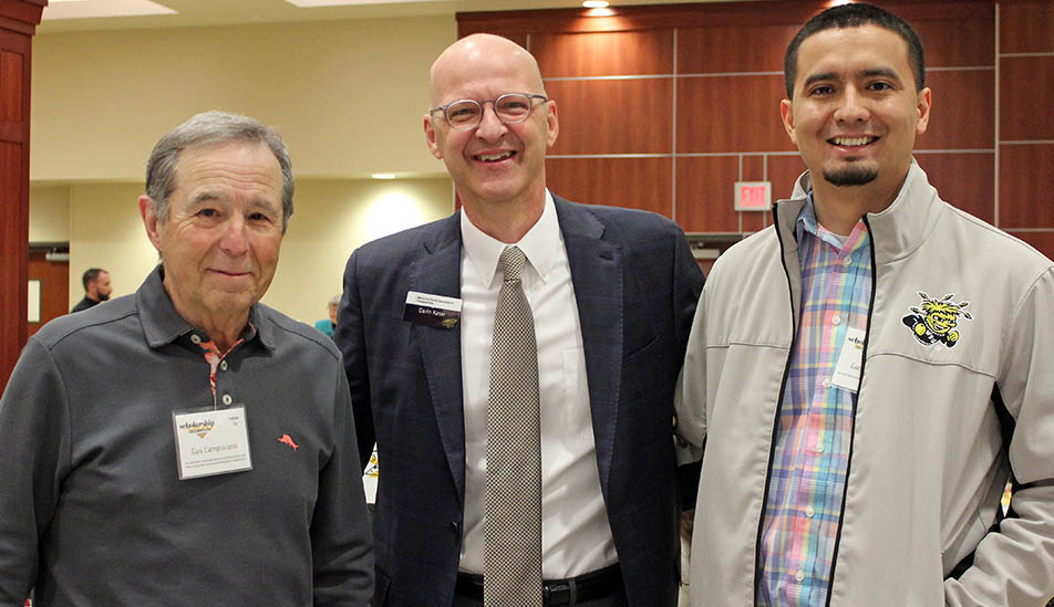 Gus Campuzano with WSU Foundation's Vice President Darin Kater and WSU student Guerrero Lopez