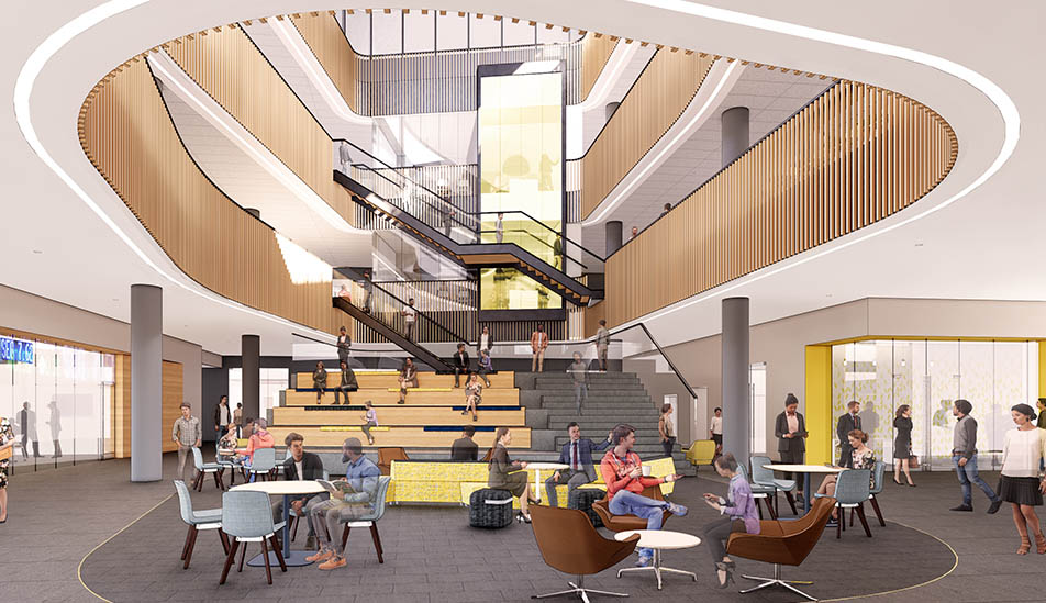 A conceptual rendering of the interior of Woolsey Hall, new home for the W. Frank Barton School of Business.