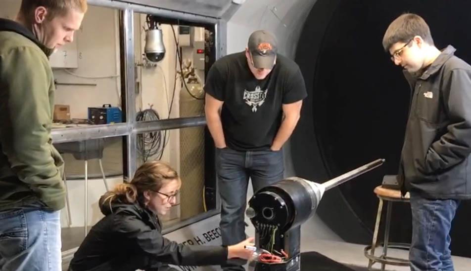 Wichita State students work on wind tunnel