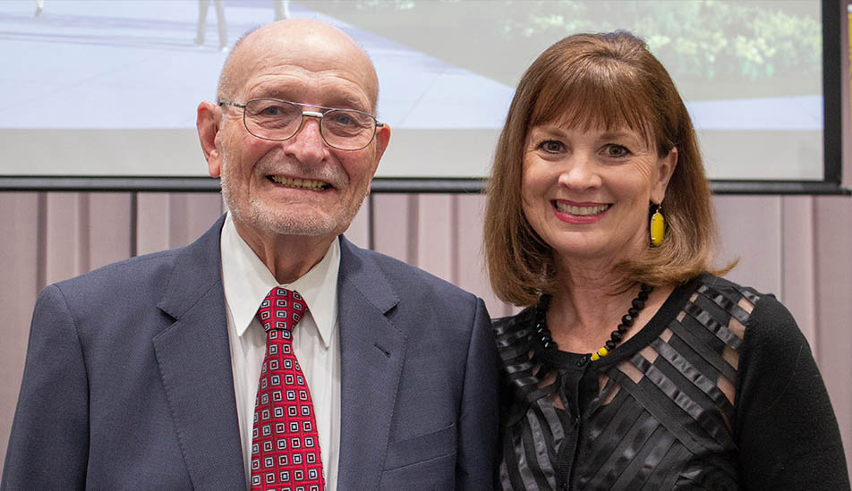 Wayne Woolsey and Eilizabeth King at the gift announcement for a new home for the W. Frank Barton School of Business on Wichita State University campus in 2022