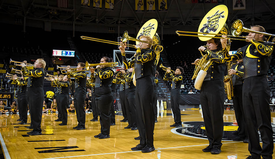 Wichita State Shocker Sound Machine, perhaps the only basketball court marching band in the country, perform at Charles Koch Arena