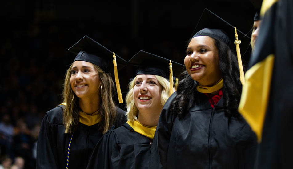 Wichita State University graduates at graduation