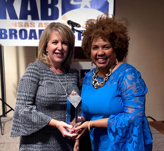 KMUW won the 2019 KAB award holding it is Deborah Shaar with Carla Eckels