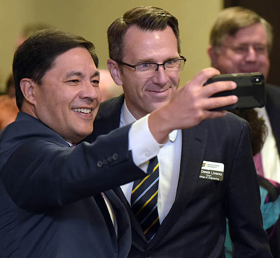 Peter Najera, Rudd Foundation, poses for a selfie with Dean Dennis Livesay at the Wichita State University President's Club member celebration held annually