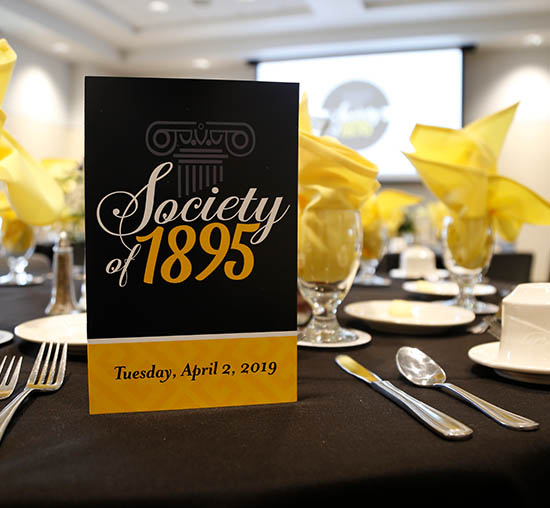 Society of 1895 luncheon setting on the campus at Wichita State University