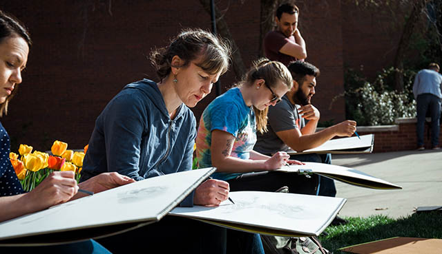 Wichita State students in the College of Fine Arts sketching