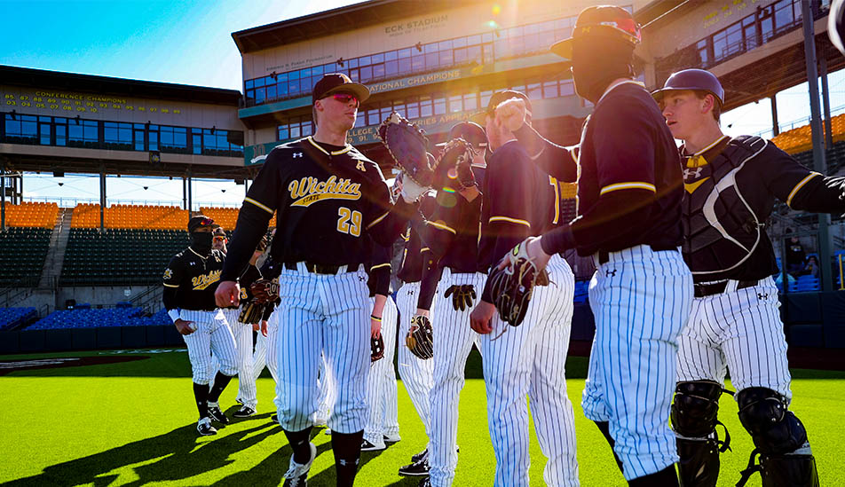 Wichita State baseball team getting hyped up before a home game