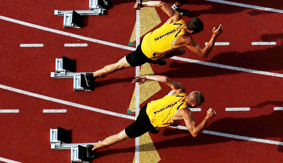 Wichita State student-athletes for track and field at a race on campus
