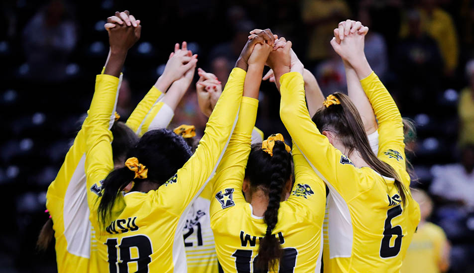 Wichita State Volleyball team before the start of a match in Charles Koch Arena
