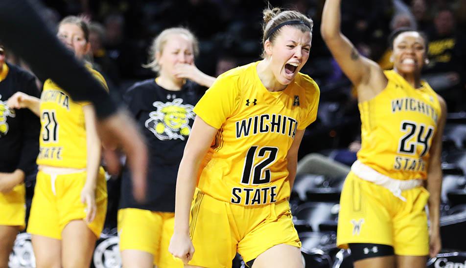 Wichita State University women's basketball team after a big win