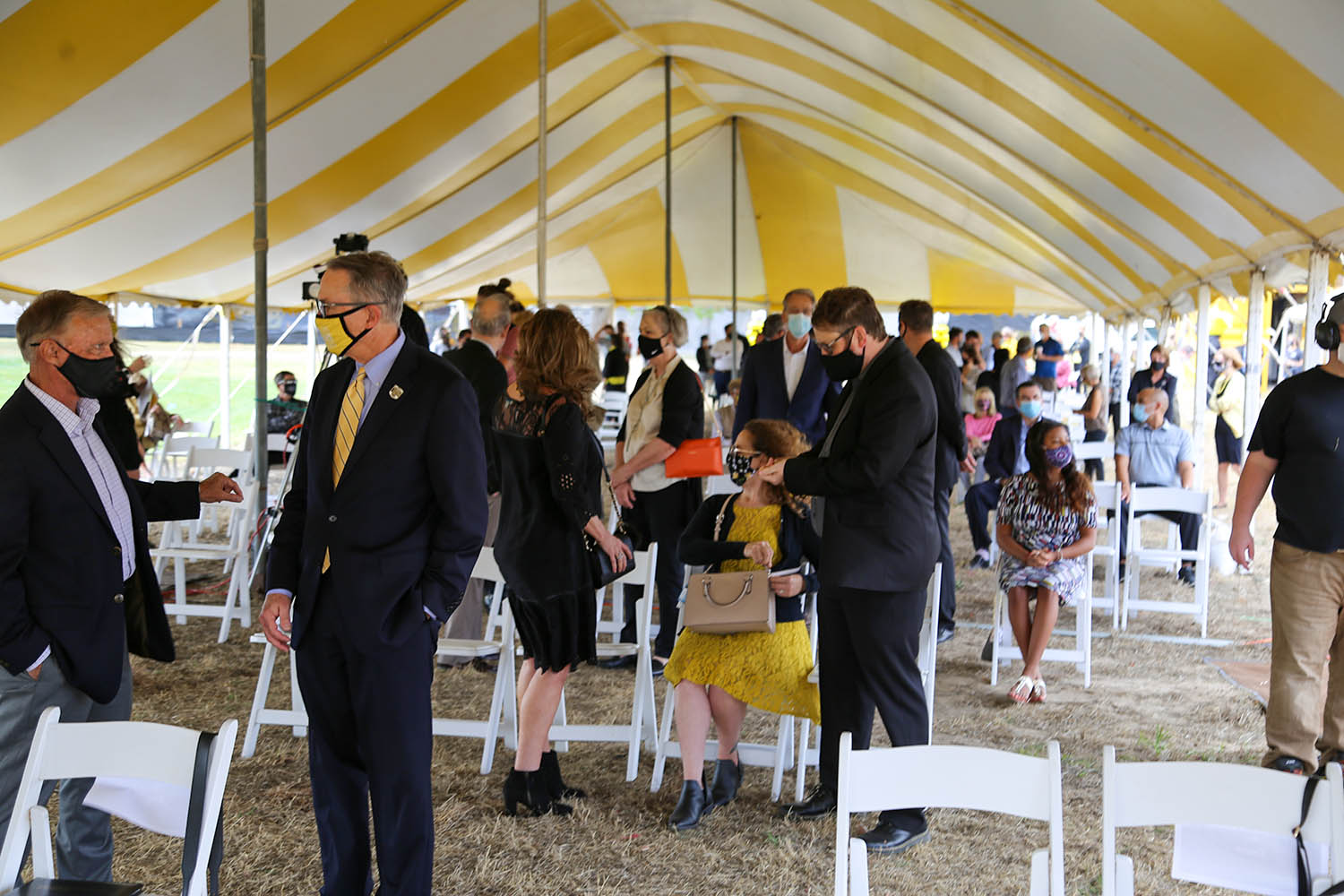 Under the tent at the Woolsey Hall groundbreaking