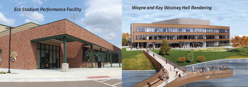 Renderings of the Eck Stadium Performance Facility and Wayne and Kay Woolsey Hall