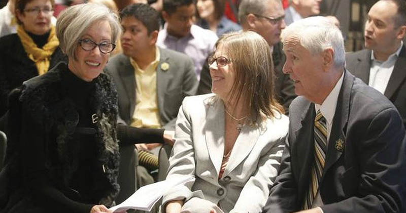 Liz Koch with the late WSU President John Bardo and his wife, Deborah.