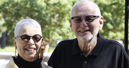 Donna and Marty Perline during a campus visit