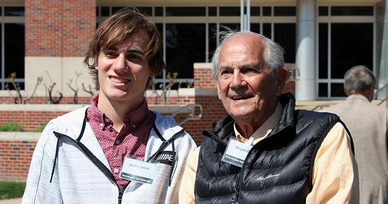Wayne Dale, right, with Jordan Smith, recipient of the scholarship named for Dale's son, Kevin Douglass Dale.