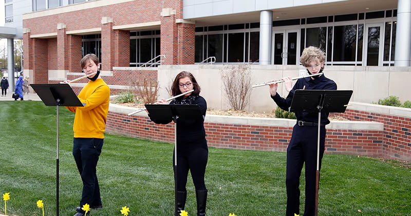 A trio of Wichita State flute students provided musical entertainment for the 2021 Scholarship Celebration.