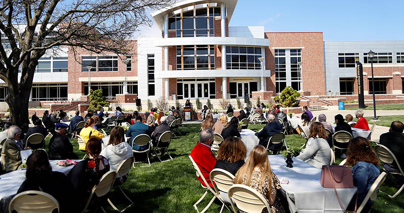 This year's Scholarship Celebration was held outdoors, on the east lawn of the Rhatigan Student Center, to help mitigate COVID concerns.