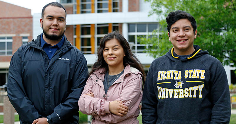 Currently receiving the Mark and Stacy Parkinson Scholarship for First-Generation Immigrant Students are, from left, Jonathan Lozano, a junior majoring in biological sciences; Irene Campos, a sophomore majoring in criminal justice; and Javier Martinez, a junior majoring in mechanical engineering.