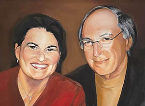 This portrait of Rose and Howard Marcus is on display inside the Marcus Welcome Center.
